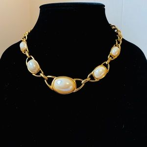 Jewelry - Gold Tone and White Cabochon Statement Necklace